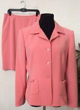 Le Suit Women's Coral Pink 100% Polyester 2 Piece Skirt Suit Size 14P EUC, $280.