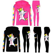 Girls Dabbing Unicorn Hooded Top and Leggings Tracksuit Set in Size 5-13 Years