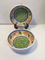 Lot Of 2 Hand Painted Clay Pottery Soup Cereal Salad Bowls White Green Blue