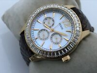 Guess Women Watch Crystal Accent Bezel Gold Tone Case Genuine Leather Band