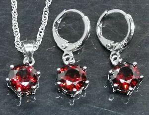 Set 925 Sterling Silver Hoop Earrings, Ruby Pendant on Chain (253B)