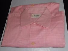 NOS 50s-60s MANHATTAN Pink White Checkers! Loop Collar Long Sleeves ROCKABILLY M