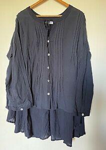 Salt&Soda boho navy rayon/cotton long sleeve Amalfi blouse L-XL