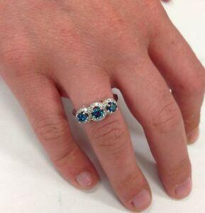 2.10 ct Pave Halo Blue Diamond Engagement 3-Stone Ring 14K White Gold Christmas