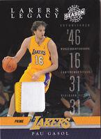 2009-10 Panini Season Update Lakers Legacy Jerseys Prime #4 Pau Gasol Patch #/49