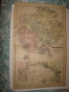 ANTIQUE 1884 MOUNT DESERT TREMONT ISLESBORO EDEN CASCO BAY MAINE HANDCOLORED MAP