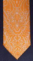 New Brioni Orange Sherbert Floral Slim Silk Necktie Tie 3 X 60