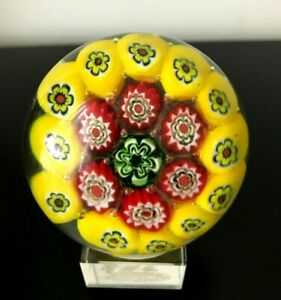 VINTAGE MILLIFIORI ART GLASS PAPERWEIGHT ON STAND