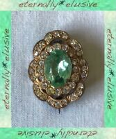 Peridot Diamond Paste Stones Gilt Gold Brooch Lace Pin Antique Victorian Vintage