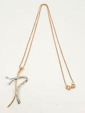 Collana oro rosa bianco 18 kt 750 croce stilizzata diamanti 0,09 ct -349/VV-1...