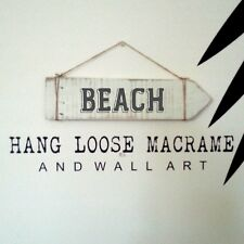 BEACH SIGN Rustic White Wash for Home Resort Holiday Home Office Caravan M.I.A.