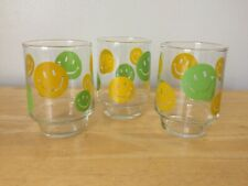 VTG Set of 3 Yellow & Green SMILEY FACE Drinking Glasses Juice Glass FAST SHIP!