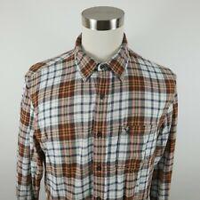 American Eagle Mens LS Button Down Brown Peach Blue Plaid Flannel Shirt Large