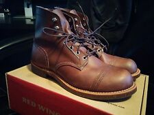 "Men's Red Wing Heritage Boots Cap Toe Iron Ranger 6"" 8111 Amber Brown Used 8.5 D"
