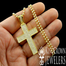 UNISEX 14K YELLOW GOLD FINISH MINI JESUS CROSS PENDANT CHARM CHAIN NECKLACE SET