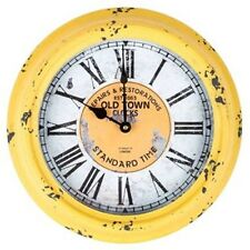 Gorgeous Antique Yellow Round Old Town Metal Wall Clock. Home Decor