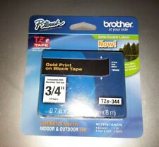 Brother P-Touch TZe Standard Adhesive Laminated Labeling Tape 3/4w Gold on Black