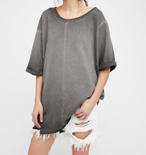 FREE PEOPLE INTIMATELY HERE IT IS WASHED BLACK OVERSIZED LOUNGE PULLOVER Sz S