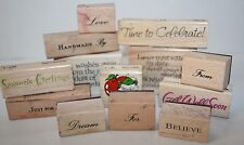 Lot 13 Mounted Rubber Stamps Words Sentiments Greetings Get Well For From Quote
