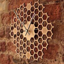 Nordic Creative Bamboo Wooden Wall Clock Honeycomb Hexagon Art Clocks Home Decor