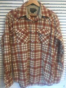 NWOT Pendleton Canyon High Grade Western Wear Wool Shirt Shadow Plaid Men Tall M