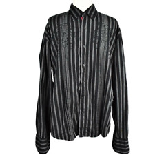 Mens XL Embroidered Gothic Shirt Fitted Cotton Striped Button Front LS Pleats
