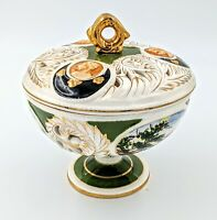 Antique Fantastic Reticulated Porcelain Compote Centerpiece Candy Covered Dish