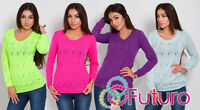 Winter Sweater Womens Jumper Cardigan Long Sleeve Crew Neck Size 8 - 12 FR13