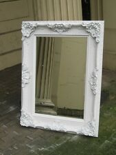 VERSACE  WHITE SHABBY CHIC LARGE FRENCH LEANER WOOD DRESS WALL MIRROR 6FT x 3T