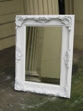 VERSACE  WHITE SHABBY CHIC LARGE FRENCH ORNATE OVERMANTLE WALL MIRROR 4FT x 3FT