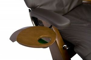 Human Touch Walnut Wood Accessory Side Table Cup holder for the Perfect Chair