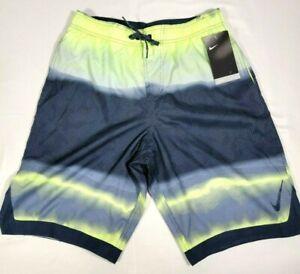 Nike Men's Swim Trunks Black / Gray / Neon Yellow / Size Medium NWT Retail $58