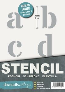 """ALPHABET STENCIL LETTERS / SYMBOLS 70mm tall (2.75"""") 6x Sheets Modern LOWER CASE"""