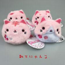 "3"" Neko Atsume Sakura Kitty Cat Plush Dango Stuffed Doll calico 4pc Blossom"