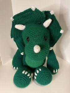 Handmade Large Crocheted Triceratops Plush