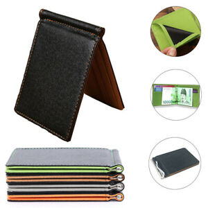 Men's Faux Leather Thin Short Wallet Pocket Bifold Purse Clutch ID Credit Card