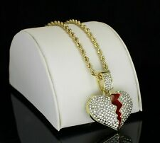"Iced 14K Gold Plated Broken Heart Pendant & 24"" Rope Hip Hop Men Women Necklace"