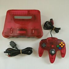VERY GOOD Japanese Nintendo 64 Watermelon Red Console + Controller NTSC-J Clear