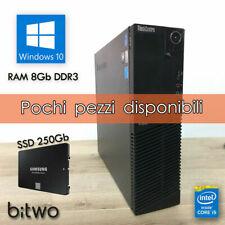 PC FISSO COMPUTER DESKTOP RICONDIZIONATO LENOVO SFF QUAD CORE i5 RAM 8GB SSD 250