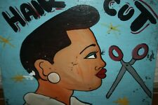 BEAUTIFUL WOOD BARBER SHOP PLATE OIL PAINTED LOME TOGO NAIVE ART