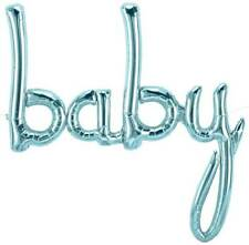 "Giant 34"" ""BABY"" Pastel Blue Script Foil Balloon Baby Shower"