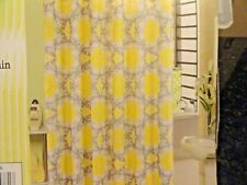 13 pc Fabric SHOWER CURTAIN~White Yellow~Gray~Medallions scrolls~swirls HOOKS