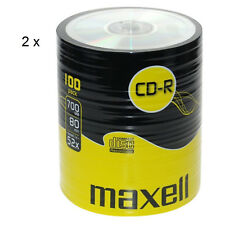MAXELL CD-R Recordable Blank CDs PC Laptop Computer Shrink Wrapped 100Pk x2