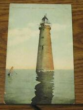 Vintage Postcard Boston Harbor MA Massachusetts Minot Ledge Light Lighthouse