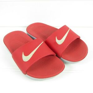 NIKE YOUTH KIDS SANDALS / SLIDES - RED & GRAY - SIZE 12C