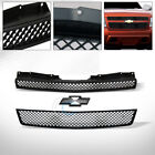 Fit 07-14 Chevy Tahoesuburbanavalanche Glossy Blk Mesh Front Bumper Grille 2pc