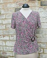 Beautiful CC Pink Print Top with Buckle Trim Elastane for Great Fit Size M BNWOT