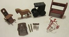 Vint 6 pc lot of Amish style wood furniture - Horse & Amish buggy -metal bicycle