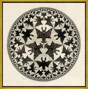 Framed M.C. Escher Angels & Demons 2 Giclee Canvas Print Paintings Poster