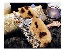 Girl's Cute Handmade Bling Diamond Rhinestone Fuzzy Rabbut Fur Phone Case Cover